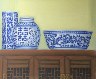 Chinese cabinet, Oil on canvasboard, 60x50cm, For sale