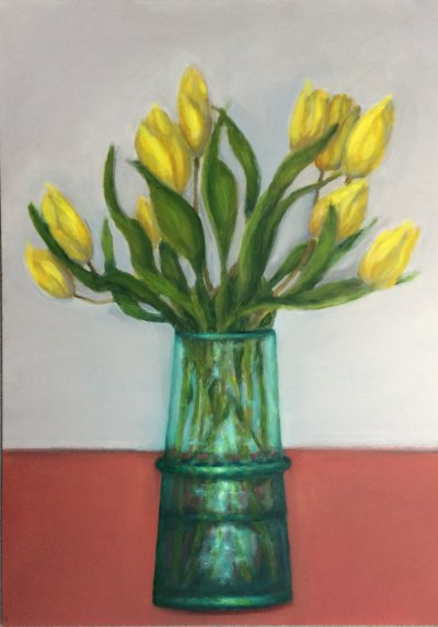 green vase, oil on canvasboard, 70x50cm, For sale